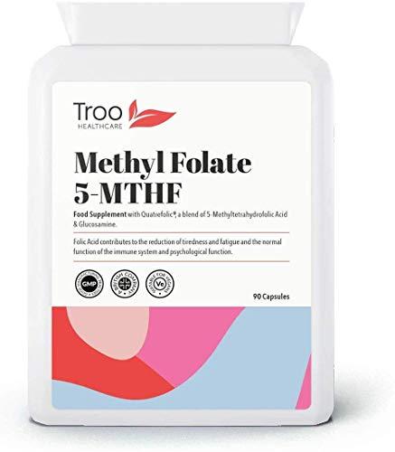 Methyl Folate 5-MTHF Supplement - 6S-5-Methyltetrahydrofolate (600µg) 90 Capsules | Superior Bioavailable Activated Folic Acid Quatrefolic Supplement | UK Manufactured