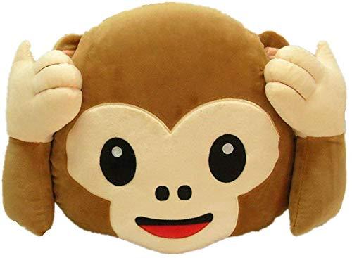 WUKONG99 Cojín de peluche de 33 cm, diseño de emoticono de mono