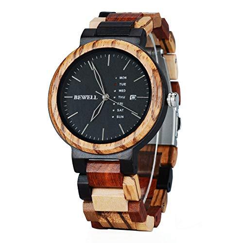Bewell orologio uomo in legno,colorato naturale con data e settimana di orologi da polso da uomo