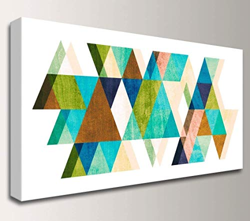 Mid-Century Modern Geometric Canvas Wall Art Decor -'Warm Dimensions'