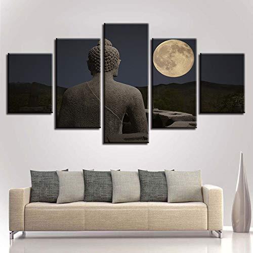 jzxjzx Frameless olieverf Boeddha standbeeld religieuze decoratie schilderij 5 gezamenlijke schilderij landschap huis kantoor muurschildering