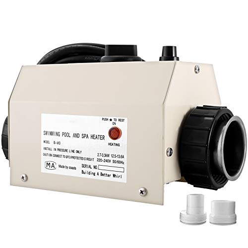 VEVOR Termostato de Calefacción SPA, 220-240 V 50-60 Hz, Calentador de Agua SPA 3 kW, Calentador de Agua Piscina 264 x 124 x 124 mm, Termostato de Piscina con Interfaz de 50 mm, de Acero Inoxidable