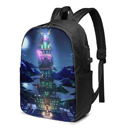 IUBBKI Lu_igi 'S Ma_nsion 3 Stampa 3D 17 pollici con zaino USB, borsa da scuola, borsa da viaggio, borsa da alpinismo