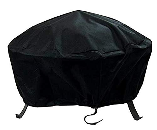 IYUNDUN Round Fire Pit Cover, Waterproof Weatherproof UV Protection Heavy Duty Protective Outdoor Gas Fire Pit Table Cover with Thick PVC Coating (CH : 48 x 18 Inch)