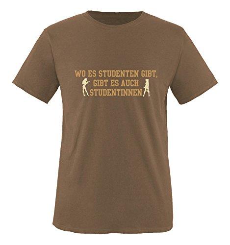 Comedy Shirts - Wo es Studenten gibt, gibt es auch Studentinnen. - Herren T-Shirt - Braun/Hellbraun-Beige Gr. XL