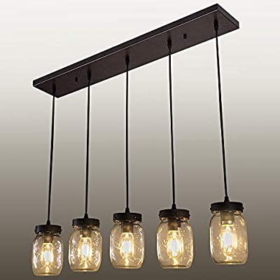 Wellmet Wood 5 Lights Glass Mason Jar Ceiling Light Pendant Chandelier Lighting Fixture with Wires Adjustable for Kitchen Island Bar Cafe Pub Dining Room Living Room