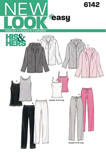 New Look 6142 - Patrón de Costura para Tops, Camisetas y Pantalones de Hombre y Mujer