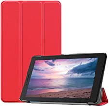 Premium Leather Case for Lenovo Tab E8 TB-8304F, Ratesell Trifold Stand Case Smart Cover for Lenovo Tab E8 TB-8304F 8 inch Tablet Red