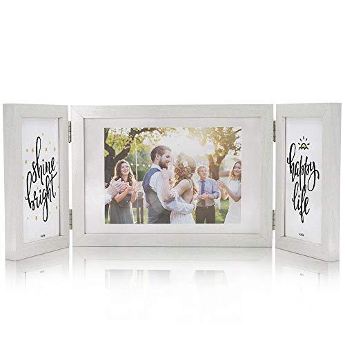 Afuly Bilderrahmen Weiß 3 Bilder für 10x15 und 13x18 cm Fotos Mehrfach Holz Fotorahmen Rustikal Modern