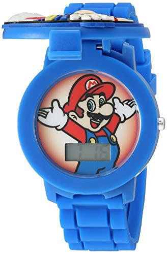 Nintendo Reloj de cuarzo con correa de silicona, azul, 17.4 (modelo: GMA3015)