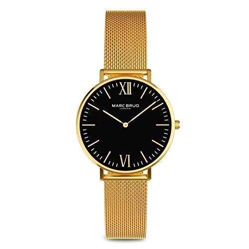 Marc Brüg Damen-Armbanduhr, rund, goldfarbenes Mesh-Armband und schwarzes Zifferblatt, 32 mm MBRGB