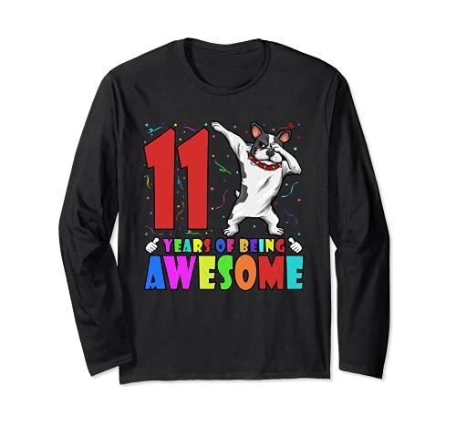 11th Birthday Party Dabbing French Bulldog 11 Years Old Kids Long Sleeve T-Shirt