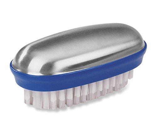 Fackelmann TECNO, roestvrijstalen zeep met borstel, anti-geurzeep van roestvrij staal, geurkiller met nagelborstel (kleur: zilver/blauw/wit), hoeveelheid: 1 stuk