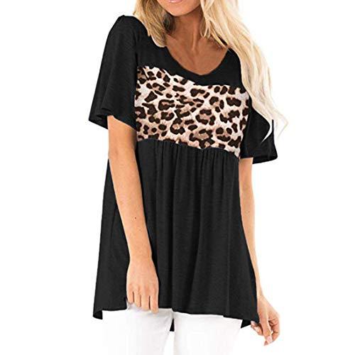 Camiseta de Manga Corta para Mujer Camiseta Lisa de Leopardo Camisetas de Verano con Cuello Redondo Camisetas a Rayas Tallas Grandes Cortas Tops Negro Casual Raya con Nudo Torcido Bloque de Color