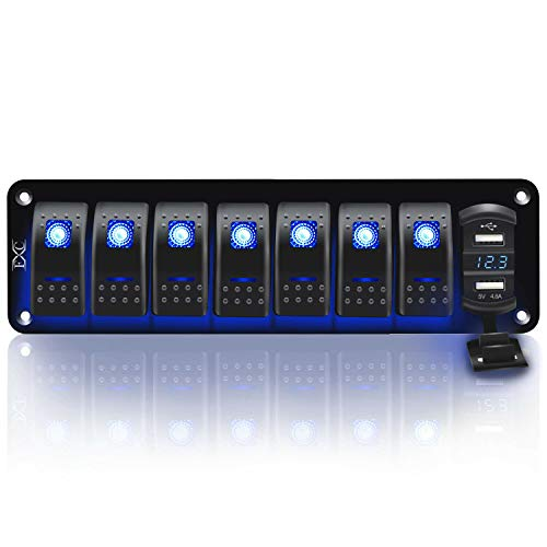 FABOOD F 12V 24V Rocker Switch Panel 8 Gang Toggle Switches Waterproof ON/Off Blue LED Backlight with 4.8 Amps Dual USB Voltmeter for Boat Car Marine Truck Trailer Caravan
