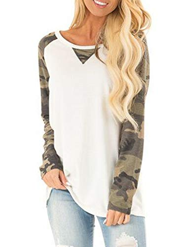 Halife Women's Fall Tops Casual Cotton Camouflage Printed Sport T Shirt Juniors Long Sleeve Blouse White,XL