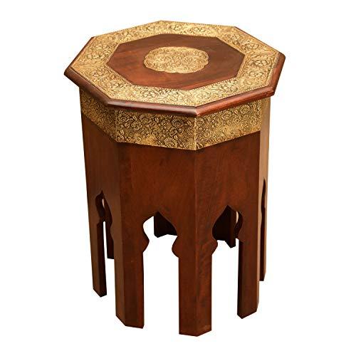 Casa Moro Orientalischer Beistelltisch Meena H 52 Ø 40 cm aus Massivholz mit Messing verziert achteckig | Handmade Couchtisch Vintage Sofatisch | MA79-25