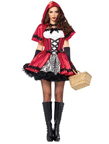 Fortuning's JDS Donne Halloween Mantello Cappuccetto Rosso Vestito Guanti calze autoreggenti Costume cosplay (4Pcs)