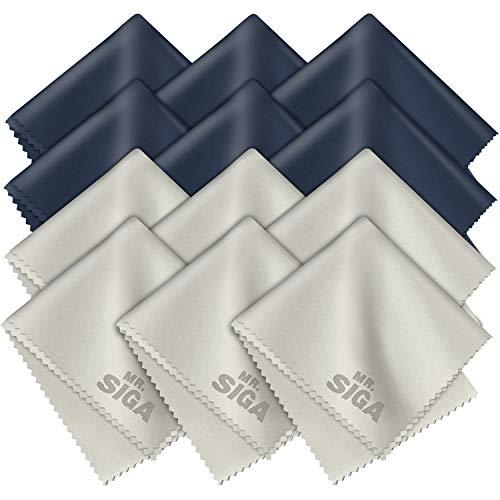MR.SIGA Chiffons de Nettoyage, Lot de 12, en Microfibre Surchoix pour Lentilles, Lunettes, Ecrans, Tablettes, Glasse, 6 x 7 pouces (15 x 18 cm), Marine/Gris