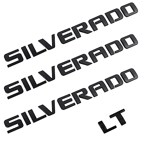 Auto safety 3D Emblems Replacement Fit for 07-18 Silverado 1500 2500Hd 3500Hd OEM Nameplate Letter Badge with 3M Adhesive (Matte Black 3pcs Silver...+1pc LT)
