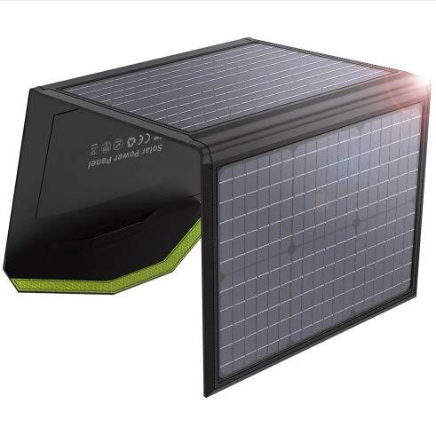 GNY Cargador Solar 60W Panel Solar Cargador Solar Plegable Dual 5V USB 18V D C Salida Impermeable para el teléfono móvil Camping Boats (Color : Black)