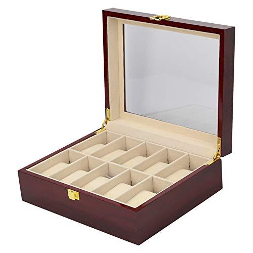 Cajas para Relojes, Clásica de madera maciza de madera sostenedor de la caja del reloj 10 ranuras de almacenamiento regalo bandeja de recogida del caso del organizador con Clear superior de la