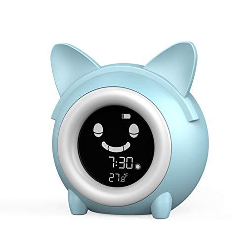 Gato Dibujos Animados Despertador Despertador Inteligente Hora Temperatura Dormitar Luces Multicolores Alarma Musical Despertador Escritorio Junto Cama Reloj Escritorio Entrenamiento SueñO Regalo,blue