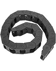 Kabelrups Drag Chain, 100 cm 25 x 38 mm Zwart Nylon Flexibele kabel Drager Drag Chain Bridge Type Open beide zijden