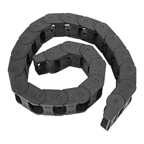 黒の ナイロンケーブルドラッグチェーンオープン 両側ワイヤーキャリアケーブルチェーン 彫刻機アクセサリー 強化ナイロン100cm 25 x 38mm