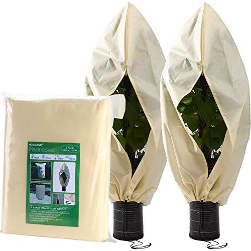 HOMMAND 2 STK. Pflanzen Schutzsack 180x120cm, Pflanzenabdeckung Frostschutz, 2 zusätzlicher Kordelzug inklusive, Große Baum Abdeckung für Winter, Winterschutz für Pflanzen vor Vögeln und Frost