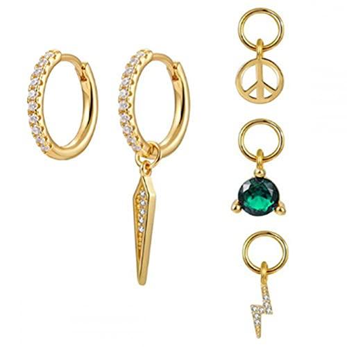 Pendientes Mujer Dos Pendientes De Aro + Cuatro Pequeños Colgantes Luna/Estrella/Cruz/Cuentas Pendientes De Plata De Ley 925 para Mujer Jewelry Gold 3