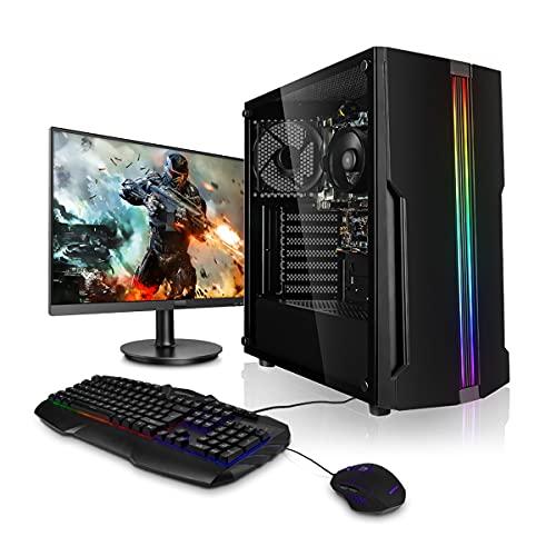 Ordenador de sobremesa para juegos con procesador AMD de 4x 3,1 GHz, pantalla de Led de 22 pulgadas, teclado y ratón, Windows 7,HDD de 1TB, 8GB de RAM, ordenador para juegos, ordenador de sobremesa montado completo 22' LED 8GB 4x3.4 Win10