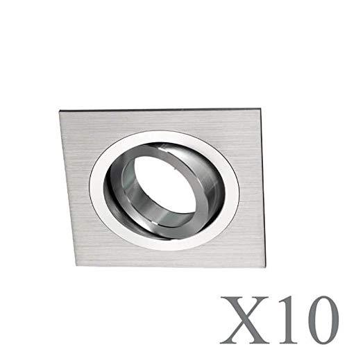 Wonderlamp Clasic W-E0 Foco empotrable cuadrado GU10, Aluminio, 10 UNIDADES