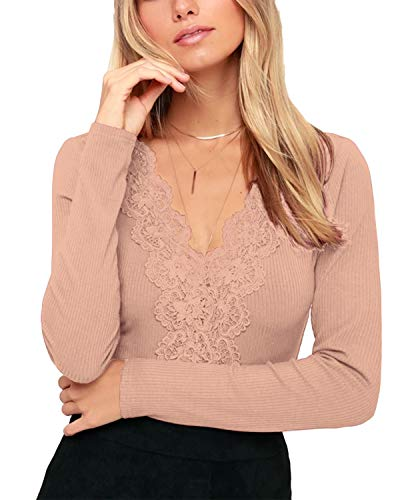 VONDA Langarmshirt Damen V-Ausschnitt Bluse Slim Fit Tops Sexy Langarm Shirt mit Spitze A-Rosa S