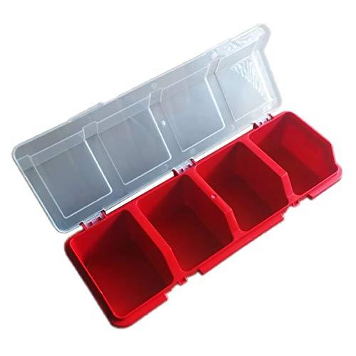 Xuebai Caja de Almacenamiento de Herramientas de plástico Piezas de Cubierta Caja de Herramientas de Tornillo Componentes de la Caja Caja de Almacenamiento de Piezas de clasificación Rojo