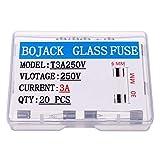 BOJACK T3A250V 6x30 mm 3 A 250 V Fusibles de fundición lenta 3 amp 250 Volt 0.24 x 1.18 Pulgadas Fusibles de retardo de tiempo de tubo de vidrio (paquete de 20 piezas)