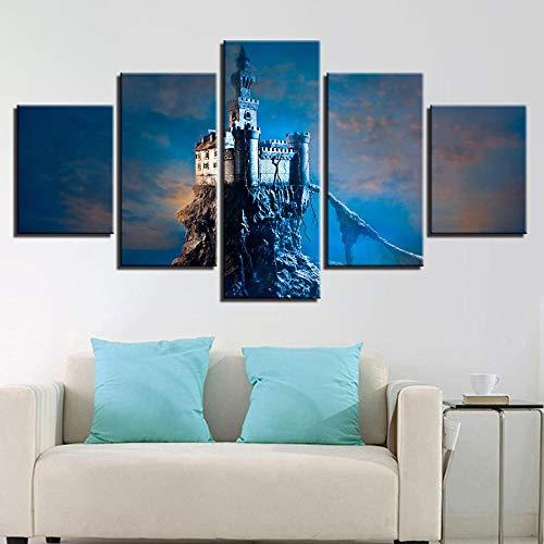 Gxucoa 5 Piezas Lienzo Poster Castillo En La Isla De La Roca HD Arte De La Pared Impresa Decoración Dormitorio El Hogar Pintura De La Lona Foto