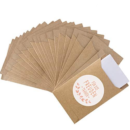 FORMIZON 120 Piezas Bolsas de Regalo, Bolsa Plana de Papel Kraft, Bolsas de Regalo Vintage y Stickers, Ideal para Boda Dulces, Bautizos, Pañuelo, Regalo de Invitados