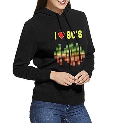 Ladies I Love 80s Music Equalizer Black Hoodie