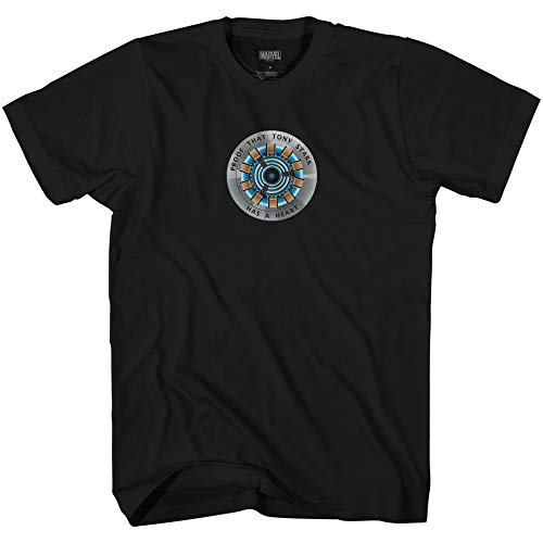 Marvel Iron Man Arc Reactor Proof Tony Has a Heart Avengers T-Shirt(Black,Large)