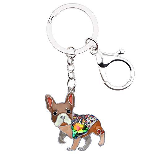 BONSNY Enamel Metal Heart Rhinestone French Bulldog Key Chains For Women Kids Car Purse bag Rings Charms Pets Gift