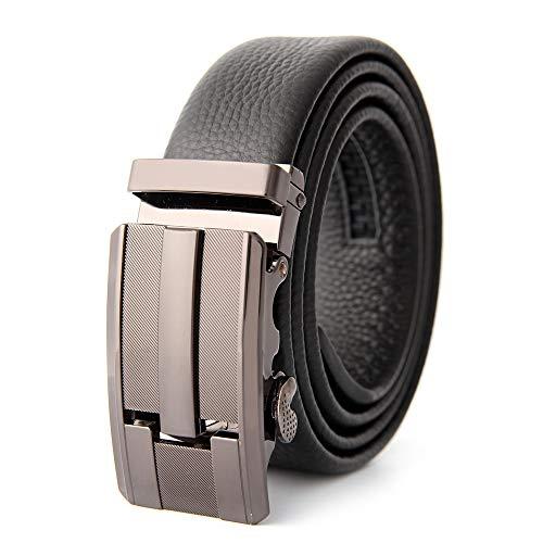 Xme Cinturón de hebilla automático para hombres, cinturón de cuero para hombres, cinturón de negocios para hombres