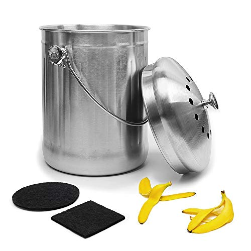 Give Me Stainless Steel Compost Bin Kitchen Compost Bin Gallon Compost Bucket with Counter Bins Filter Home Organic Composter Bin for Kitchen Waste