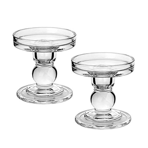 Yeeco Glass Candle Holders, Set of 2 Pillar Candle Holder Centerpiece 3.5 Inch Height Clear Candlestick Candle Stand for Table Wedding Decoration Party