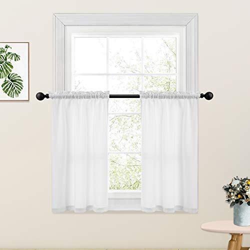 White Kitchen Tier Curtains 36 inches Long Linen Textured Semi Sheer Cafe Curtains Short Bathroom Small Basement Window Curtain 2 Panels Rod Pocket