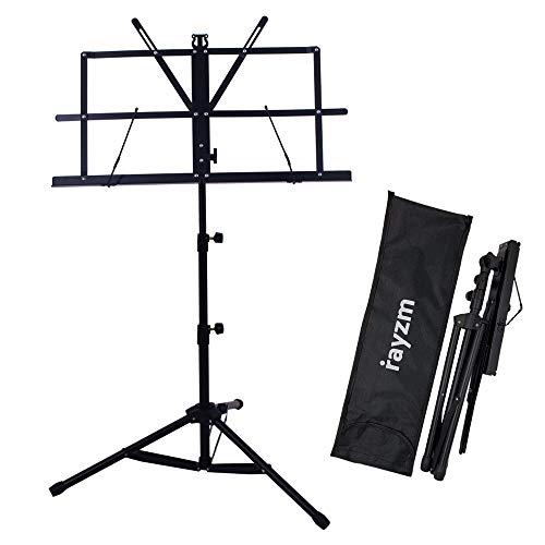 Rayzm Stand/Atril para partituras plegable y portátil con bolsa de transporte, altura ajustable, Peso máximo 1.5Kg, Ligero y Compacto para Viajes o Desplazamientos