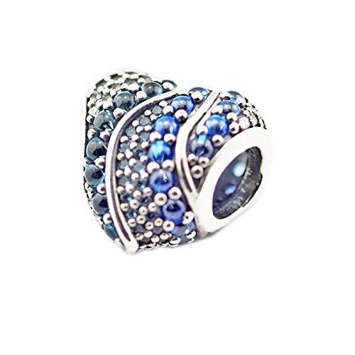 LIIHVYI Pandora Charms para Mujeres Cuentas Plata De Ley 925 Joyas Mujer Shiny Aqua Heart London Blue Crystals Compatible con Pulseras Europeos Collars