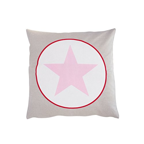 Krasilnikoff - Kissenbezug Big Star Taupe Rosa Stern - Baumwolle 50 x 50 cm