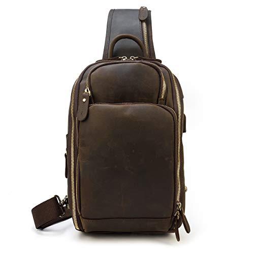 LUUFAN Vintage Mens Genuine Leather Sling Chest Bag Crossbody Backpack Shoulder Daypack With USB Charging Port For Sport Hiking Travel School (Dark Brown)