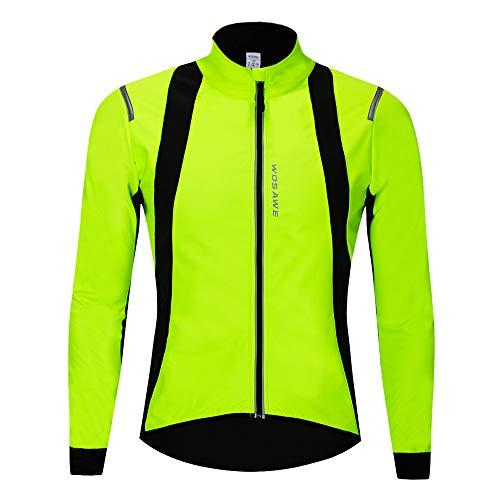 WOSAWE Hommes Vestes de Cyclisme Fleece Thermique Vélo Coupe Vent Impermeable Vêtements pour Automne Hiver (BC232 Vert XL)
